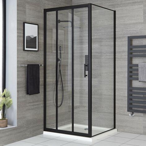 Milano Nero - 800mm Reversible Wet Room Shower Enclosure Triple Sliding Door with Side Panel - Black