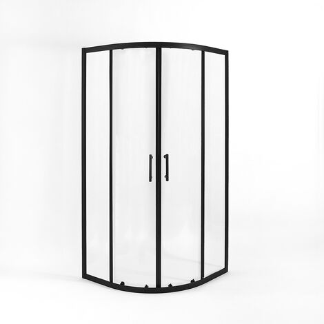 """main image of """"Milano Nero - Reversible Quadrant Shower Enclosure and White Tray with Fast Flow Waste - Black"""""""