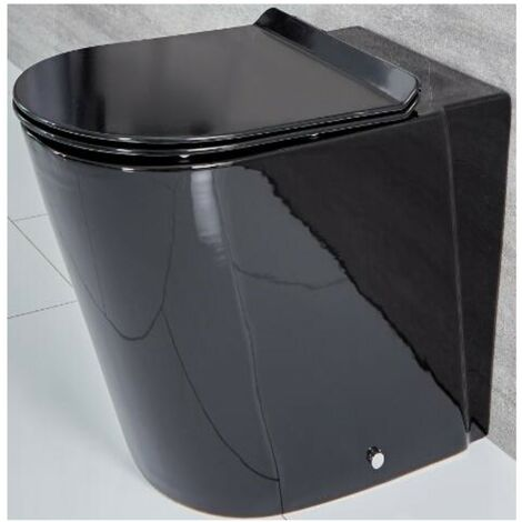Milano Nero - Black Ceramic Modern Bathroom Back to Wall Toilet WC and Soft Close Seat