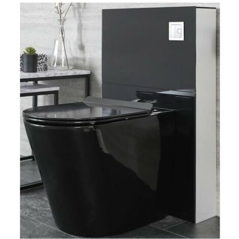 Milano Nero - Black Ceramic Modern Bathroom Back to Wall Toilet WC Unit with Pan, Cistern and Soft Close Seat