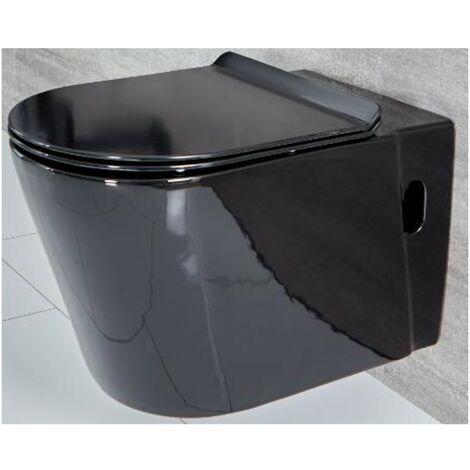 Milano Nero - Black Ceramic Modern Bathroom Wall Hung Toilet WC and Soft Close Seat