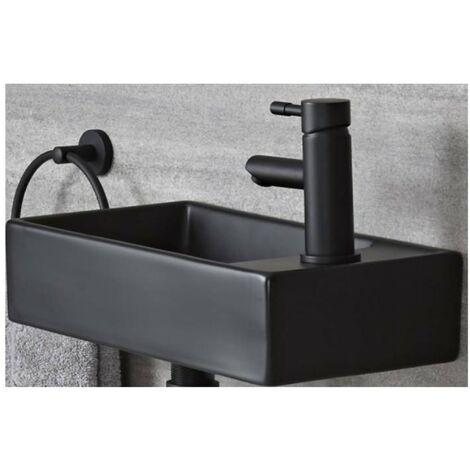 Milano Nero - Black Ceramic Modern Wall Hung Bathroom Basin Sink with One Tap Hole - 410mm x 220mm