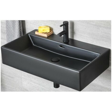 Milano Nero - Black Ceramic Modern Wall Hung Bathroom Basin Sink with One Tap Hole - 750mm x 420mm