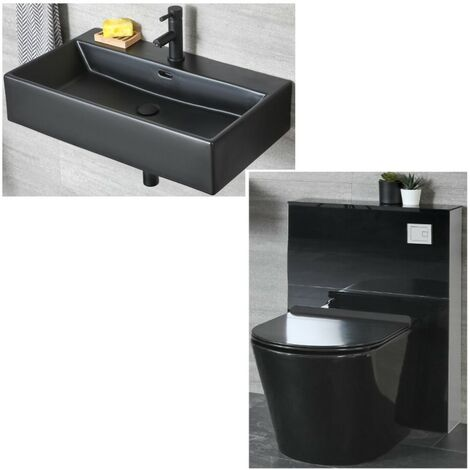 Milano Nero - Black Ceramic Modern Wall Hung Bathroom Basin Sink with One Tap Hole and Back to Wall Toilet WC Unit with Pan, Cistern and Soft Close Seat