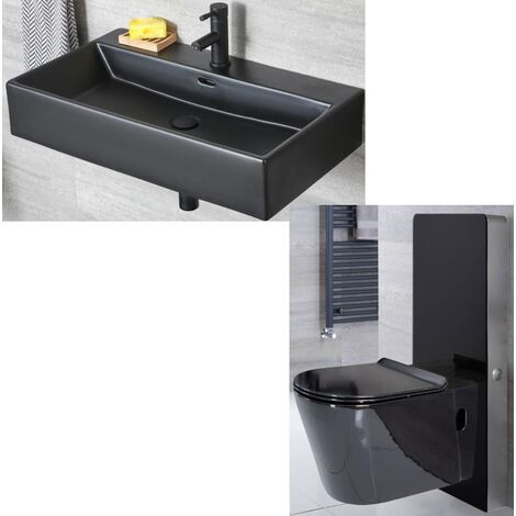 Milano Nero - Black Ceramic Modern Wall Hung Bathroom Basin Sink with One Tap Hole and Toilet WC Unit with Pan, Cistern and Soft Close Seat