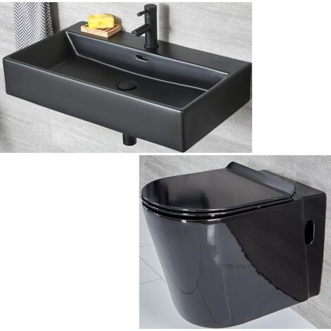Milano Nero - Black Ceramic Modern Wall Hung Toilet WC and Bathroom Basin Sink with One Tap Hole