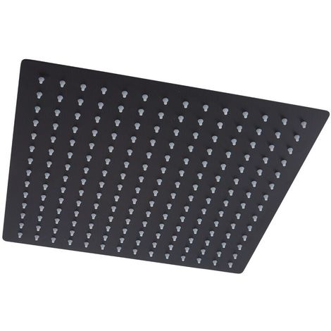 Milano Nero - Black Modern 400mm Square Ceiling Mounted Recessed Shower Head