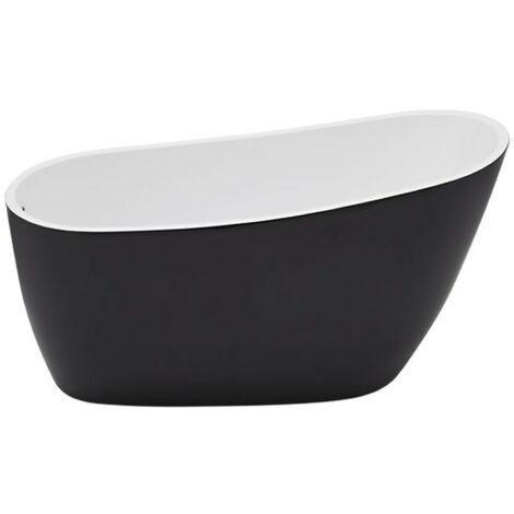 Milano Nero - Black Modern Bathroom Double Ended Freestanding Slipper Bath - 1800mm x 720mm