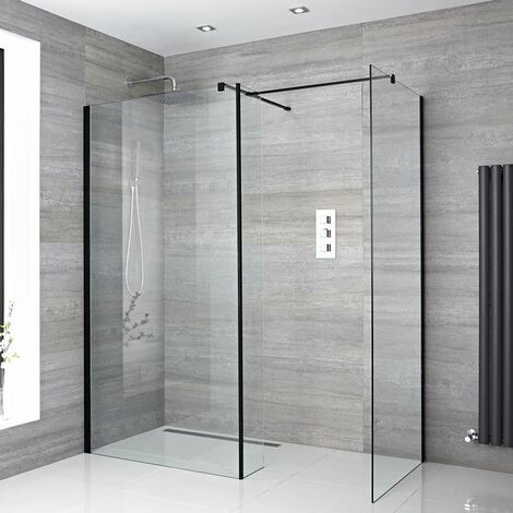 Milano Nero - Corner Walk In Wet Room Shower Enclosure with 1200mm & 900mm Screens Return Panel Support Arms and Shower Drain - Black