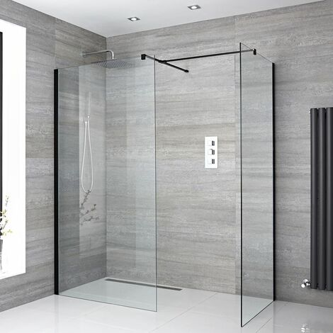 Milano Nero - Corner Walk In Wet Room Shower Enclosure with 800mm & 700mm Screens Support Arms Shower Drain - Black