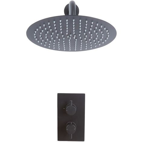 Milano Nero - Modern 1 Outlet Twin Thermostatic Mixer Shower Valve with Wall Mounted 300mm Round Rainfall Shower Head - Black