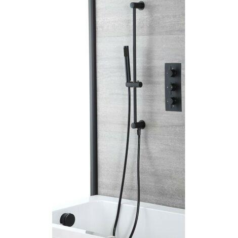 Milano Nero - Modern 2 Outlet Triple Thermostatic Mixer Shower Valve with Hand Shower Handset Slide Riser Rail Kit and Overflow Bath Filler Tap - Black