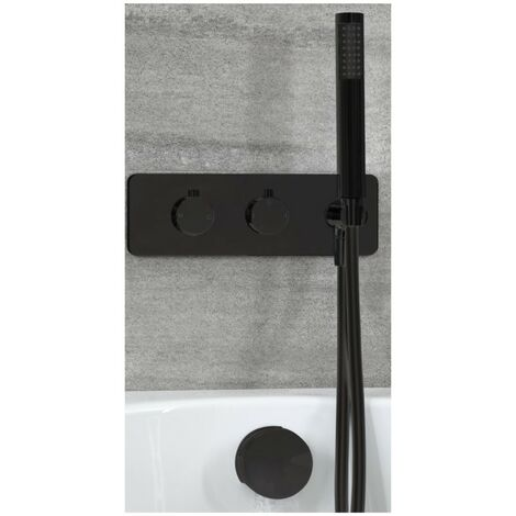 Milano Nero - Modern 2 Outlet Twin Diverter Thermostatic Mixer Shower Valve with Hand Shower Handset and Overflow Bath Filler Tap- Black