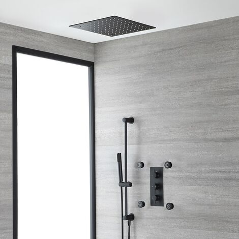 """main image of """"Milano Nero - Modern 3 Outlet Triple Diverter Thermostatic Mixer Shower Valve with Ceiling Mounted Recessed Rainfall Shower Head, Hand Shower Handset Slide Riser Rail Kit and Body Jets - Black"""""""