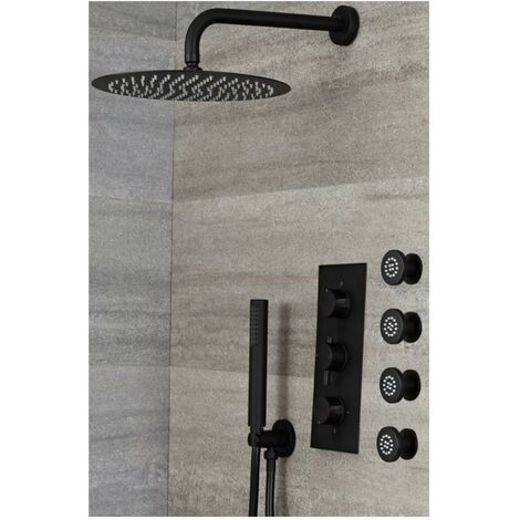 Milano Nero - Modern 3 Outlet Triple Diverter Thermostatic Mixer Shower Valve with Wall Mounted 300mm Round Rainfall Shower Head, Hand Shower Handset Kit and Body Jets - Black