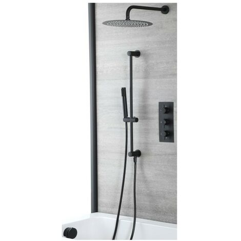 Milano Nero - Modern 3 Outlet Triple Diverter Thermostatic Mixer Shower Valve with Wall Mounted Rainfall Shower Head, Hand Shower Handset Slide Riser Rail Kit and Overflow Bath Filler Tap - Black