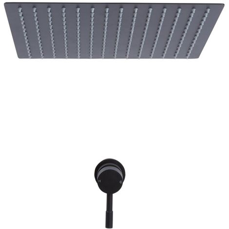 Milano Nero - Modern Black Concealed Manual Mixer Shower Valve with 400mm Square Ceiling Mounted Recessed Rainfall Shower Head