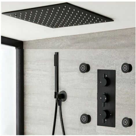 Milano Nero - Modern Black Concealed Triple Diverter Thermostatic Mixer Shower Valve with 400mm Square Ceiling Mounted Recessed Rainfall Shower Head, Hand Shower Handset Kit and Body Jets