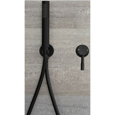 Milano Nero - Modern Black Manual Mixer Shower Valve with Hand Shower Handset Kit