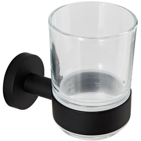 Milano Nero - Modern Round Wall Mounted Bathroom Glass Toothbrush Tumbler with Black Holder