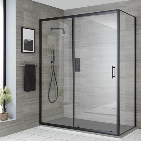 Milano Nero - Reversible Corner Wet Room Walk In Shower Enclosure with Sliding Door and 1200mm x 800mm Light Grey Slate Effect Tray with Fast Flow Waste - Black