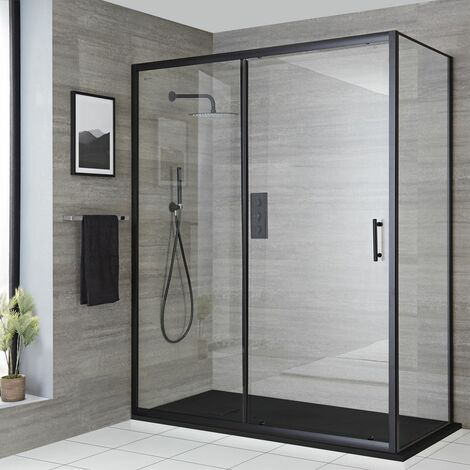 """main image of """"Milano Nero - Reversible Corner Wet Room Walk In Shower Enclosure with Sliding Door and 1500mm x 800mm Graphite Slate Effect Tray with Fast Flow Waste - Black"""""""