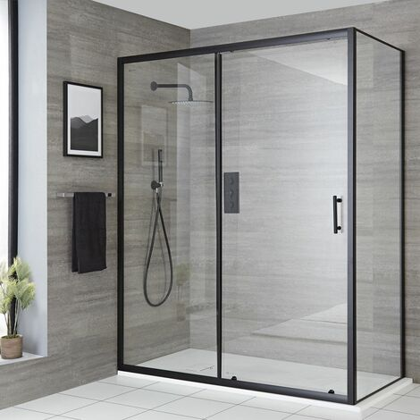 """main image of """"Milano Nero - Reversible Corner Wet Room Walk In Shower Enclosure with Sliding Door and 1500mm x 800mm White Slate Effect Tray with Fast Flow Waste - Black"""""""