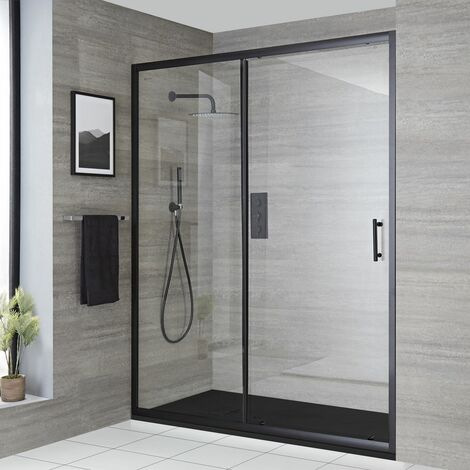 Milano Nero - Reversible Recessed Walk In Wet Room Shower Enclosure with Sliding Door and 1200mm x 800mm Graphite Slate Effect Tray with Fast Flow Waste - Black