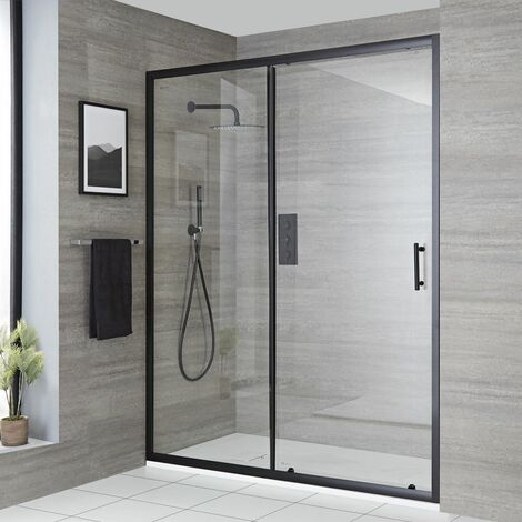 Milano Nero - Reversible Recessed Walk In Wet Room Shower Enclosure with Sliding Door and 1200mm x 800mm White Slate Effect Tray with Fast Flow Waste - Black