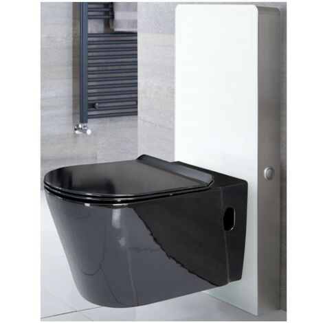 Milano Nero - White 483mm Bathroom Toilet WC Unit with Black Wall Hung Rimless Pan, Cistern and Soft Close Seat