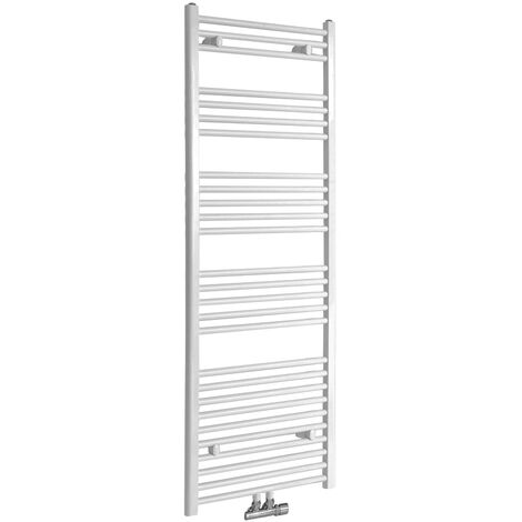 Milano Neva - 1600mm x 600mm Modern Central Connection Heated Towel Rail Radiator – White