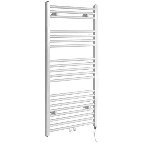 Milano Neva Electric - 1188mm x 500mm Modern Heated Towel Rail Radiator - White