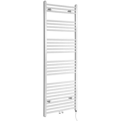 Milano Neva Electric - 1600mm x 500mm Modern Heated Towel Rail Radiator - White