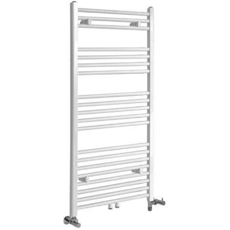 Milano Neva - Modern White Dual Fuel Electric Heated Towel Rail Radiator - 1188mm x 500mm