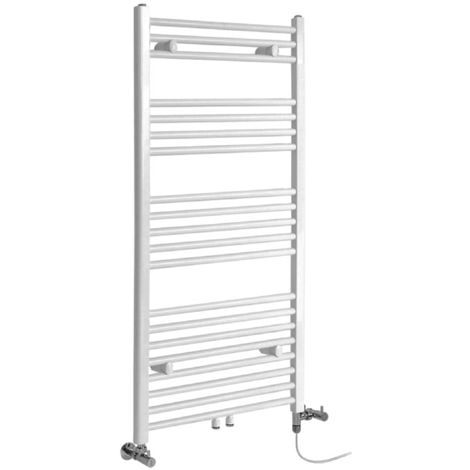 Milano Neva - Modern White Dual Fuel Electric Heated Towel Rail Radiator - 1188mm x 600mm