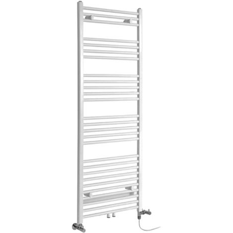 Milano Neva - Modern White Dual Fuel Electric Heated Towel Rail Radiator - 1600mm x 500mm