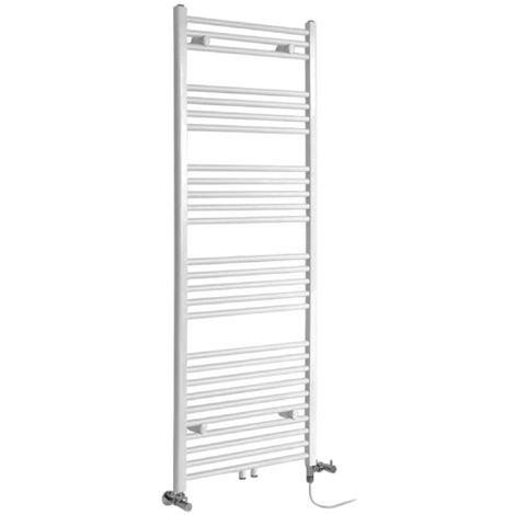 Milano Neva - Modern White Dual Fuel Electric Heated Towel Rail Radiator - 1600mm x 600mm