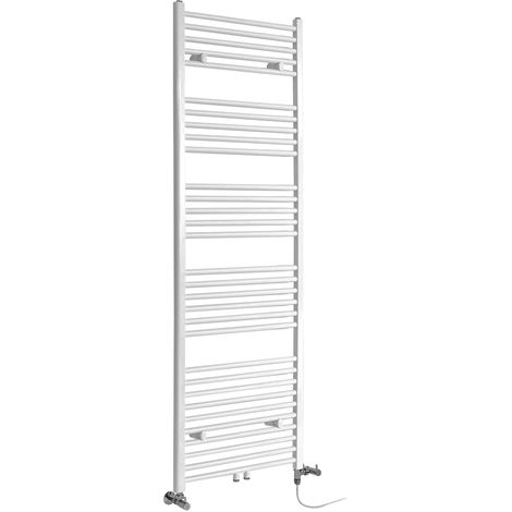 Milano Neva - Modern White Dual Fuel Electric Heated Towel Rail Radiator - 1785mm x 500mm