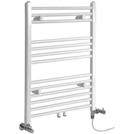 Milano Neva - Modern White Dual Fuel Electric Heated Towel Rail Radiator - 803mm x 500mm