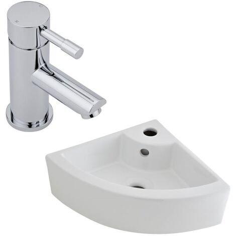 Milano Newby - Modern White Ceramic 460mm x 320mm Wall Hung Corner Bathroom Basin Sink and Mono Basin Mixer Tap