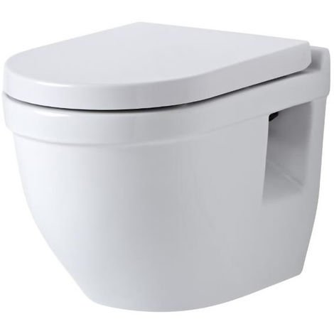 Milano Newby - Round Wall-Hung White Ceramic Toilet - One-Piece Suspended Space Saving WC and Soft Close Seat