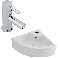 Milano Newby - Wall Hung Counter Top White Ceramic Basin with Mirage Sink Tap