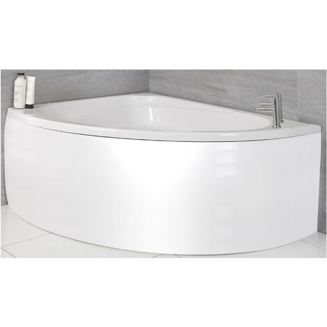 Milano Newby - White Modern Bathroom Left Hand Corner Bath with Panel - 1500mm x 1020mm