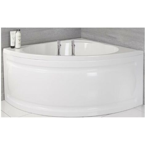 Milano Newby - White Modern Bathroom Reversible Corner Bath with Panel - 1200mm x 1200mm