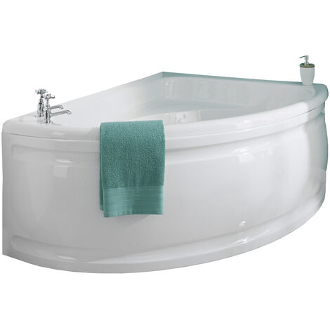 Milano Newby - White Modern Bathroom Right Hand Corner Bath with Panel - 1500mm x 1020mm