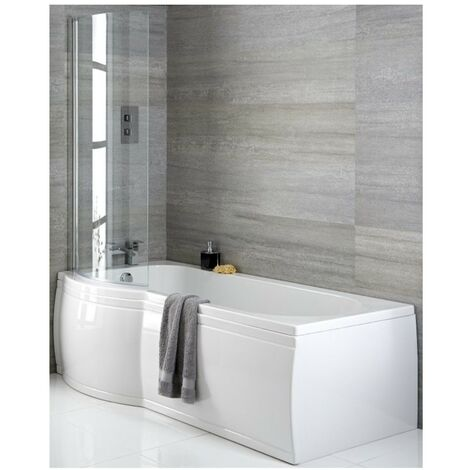 Milano Newby - White Modern Left Hand Curved P Shape Bathroom Shower Bath with Options - 1675mm x 850mm
