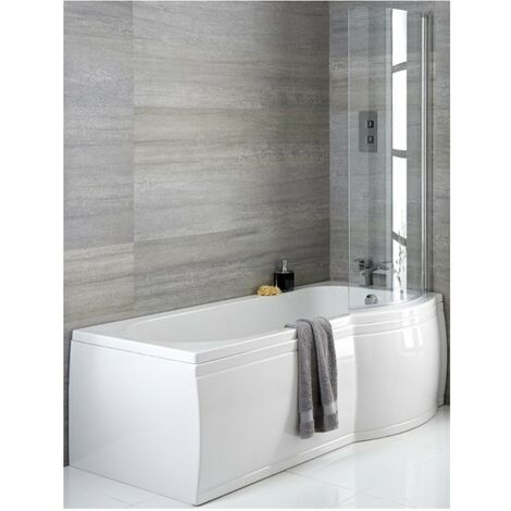 Milano Newby - White Modern Right Hand Curved P Shape Bathroom Shower Bath with Options - 1500mm x 800mm