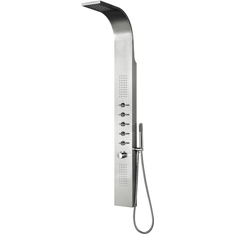 Milano Niagra - Modern Exposed Thermostatic Shower Tower Panel with Rainfall Shower Head, Body Jets, Hand Shower Handset and Waterblade Function - Chrome