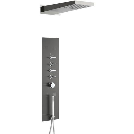 Milano Oceanie - Modern Concealed Thermostatic Shower Tower Panel with Rainfall Shower Head, Body Jets, Hand Shower Handset and Waterblade Function - Grey