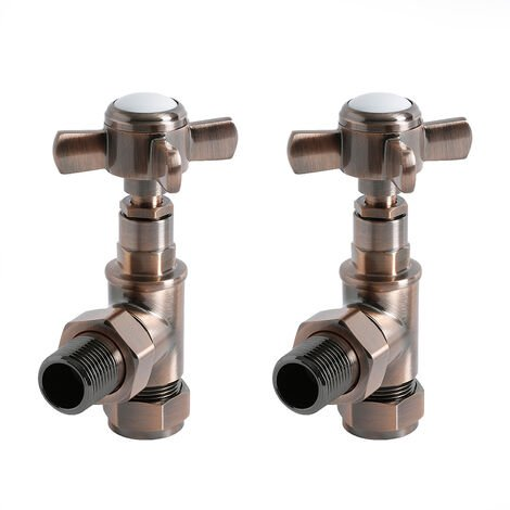Milano - Oil Rubbed Bronze Angled Heated Towel Rail Radiator Valves - Pair